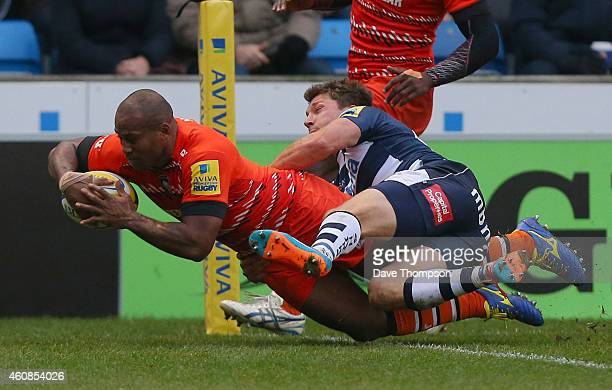 Seremaia Bai of Leicester Tigers crosses the line to score his side's first try during the Aviva Premiership match between Sale Sharks and Leicester...