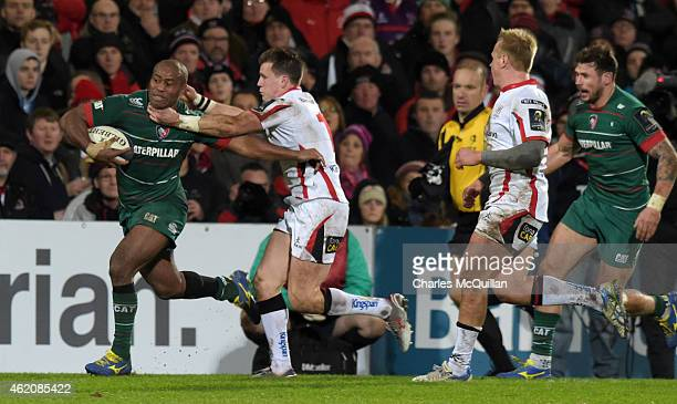 Seremaia Bai of Leicester Tigers is tackled by Craig Gilroy of Ulster during this afternoons European Rugby Champions Cup Pool 3 match between Ulster...
