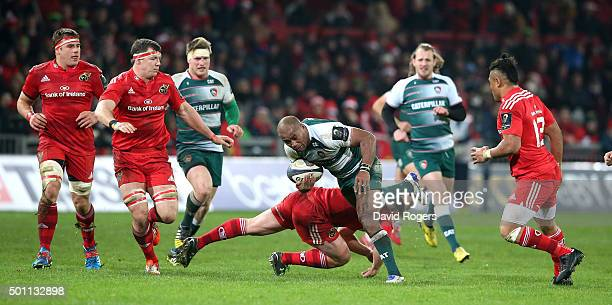 Seremaia Bai of Leicestser charges upfield during the European Rugby Champions Cup match between Munster and Leicester Tigers at Thomond Park on...