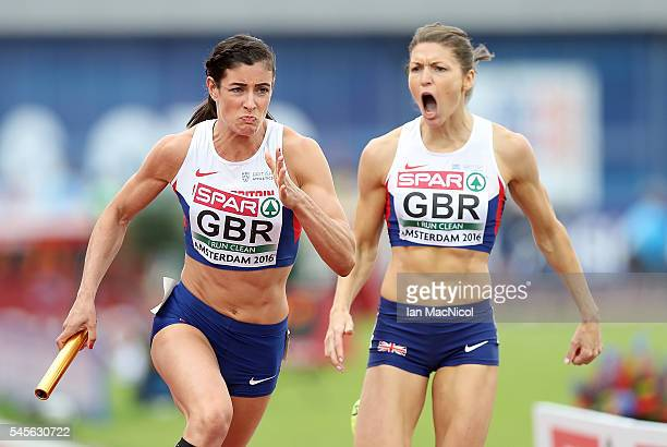 Seren BundyDavies of Great Britain takes the baton from Kelly Massey of Great Britain during their qualifying heat for the womens 4x400m relay on day...