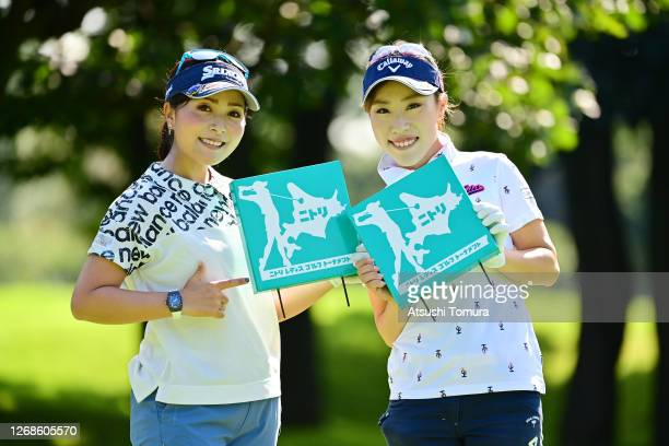 Serena Aoki and Ayako Kimura of Japan pose on the 3rd hole during a practice round ahead of the Nitori Ladies Golf Tournament at the Otaru Country...