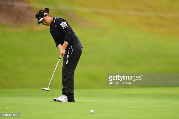 Serena Aoki of Japan attempts a putt on the 8th green during the second round of the Nobuta Group Masters GC Ladies at Masters Golf Club on October...