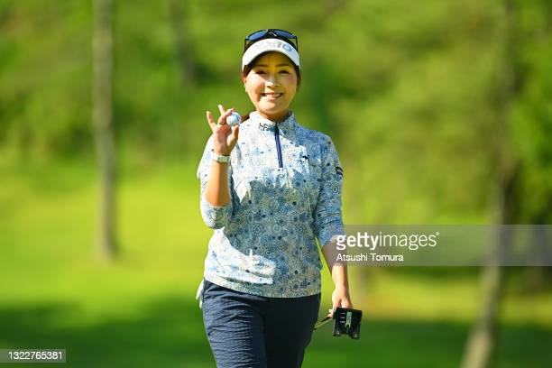 Serena Aoki of Japan celebrates the birdie on the 10th green during the first round of the Ai Miyazato Suntory Ladies Open at Rokko Kokusai Golf Club...