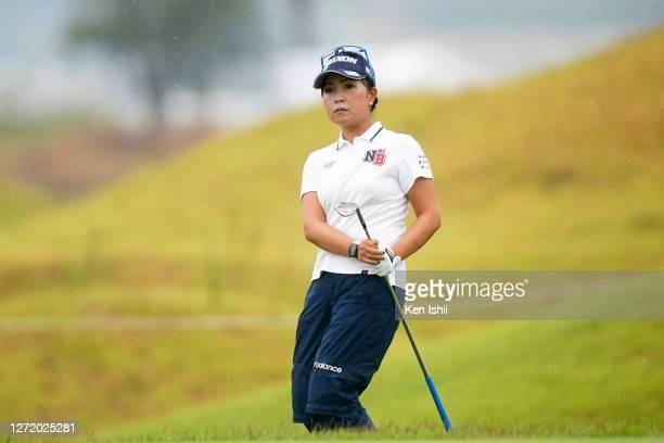 Serena Aoki of Japan chips onto the 1st green during the third round of the JLPGA Championship Konica Minolta Cup at the JFE Setonaikai Golf Club on...