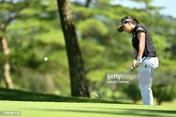 Serena Aoki of Japan chips onto the 5th green during the second round of the NEC Karuizawa 72 Golf Tournament at the Karuizawa 72 Golf Kita Course on...