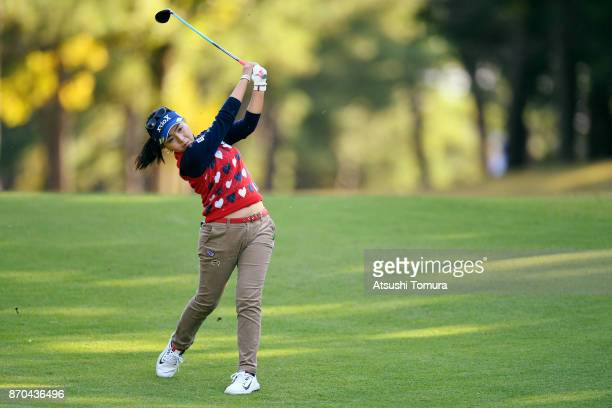 Serena Aoki of Japan hits her second shot on the 17th hole during the final round of the TOTO Japan Classics 2017 at the Taiheiyo Club Minori Course...