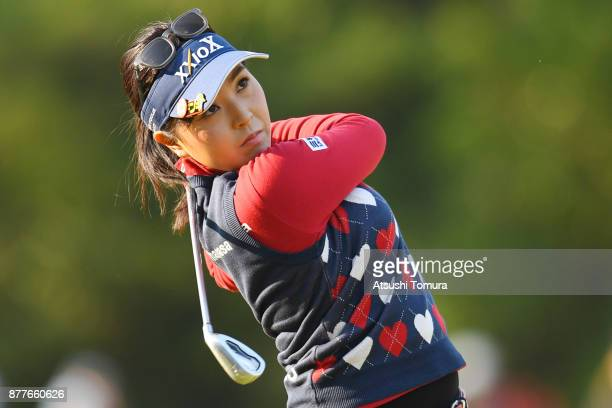 Serena Aoki of Japan hits her second shot on the 1st hole during the first round of the LPGA Tour Championship Ricoh Cup 2017 at the Miyazaki Country...
