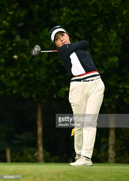 Serena Aoki of Japan hits her tee shot on the 11th hole during the second round of the Daikin Orchid Ladies at the Ryukyu Golf Club on March 5, 2021...