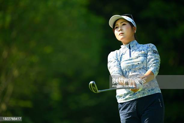 Serena Aoki of Japan hits her tee shot on the 11th hole during the first round of the Ai Miyazato Suntory Ladies Open at Rokko Kokusai Golf Club on...