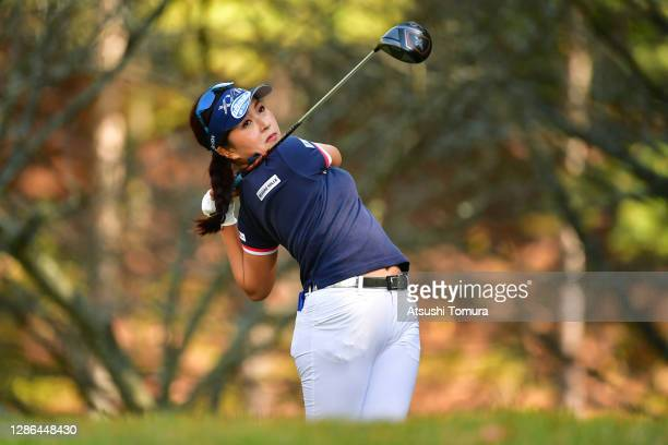 Serena Aoki of Japan hits her tee shot on the 13th hole during the first round of the Daio Paper Elleair Ladies Open at the Elleair Golf Club...
