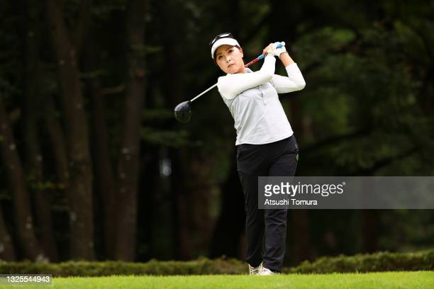 Serena Aoki of Japan hits her tee shot on the 14th hole during the third round of the Earth Mondamin Cup at Camellia Hills Country Club on June 26,...