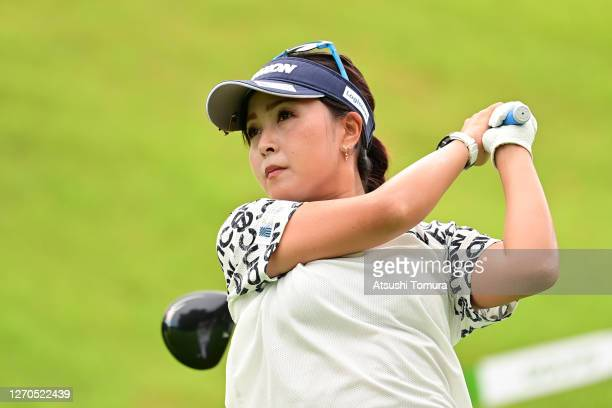 Serena Aoki of Japan hits her tee shot on the 1st hole during the first round of the GOLF5 Ladies Tournament at the GOLF5 Country Mizunami Course on...