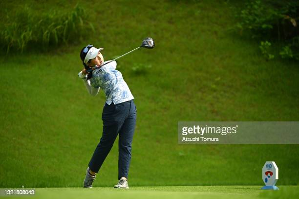 Serena Aoki of Japan hits her tee shot on the 2nd hole during the second round of Yonex Ladies at Yonex Country Club on June 5, 2021 in Nagaoka,...