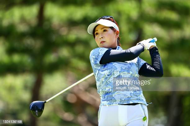 Serena Aoki of Japan hits her tee shot on the 2nd hole during the first round of Nichirei Ladies at Sodegaura Country Club Shinsode Course on June...