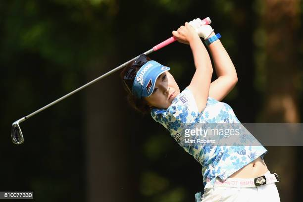 Serena Aoki of Japan hits her tee shot on the 2nd hole during the first round of the Nipponham Ladies Classics at the Ambix Hakodate Club on July 7...