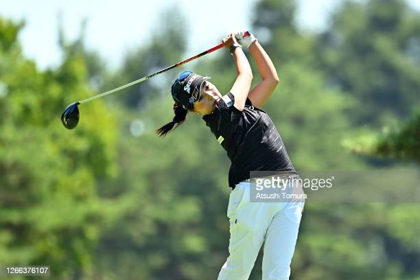 Serena Aoki of Japan hits her tee shot on the 4th hole during the second round of the NEC Karuizawa 72 Golf Tournament at the Karuizawa 72 Golf Kita...