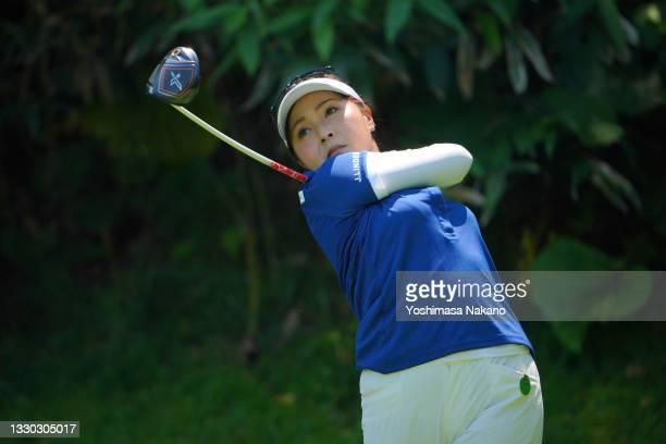 Serena Aoki of Japan hits her tee shot on the 4th hole during the third round of Daito Kentaku eHeyanet Ladies at Takino Country Club on July 24,...