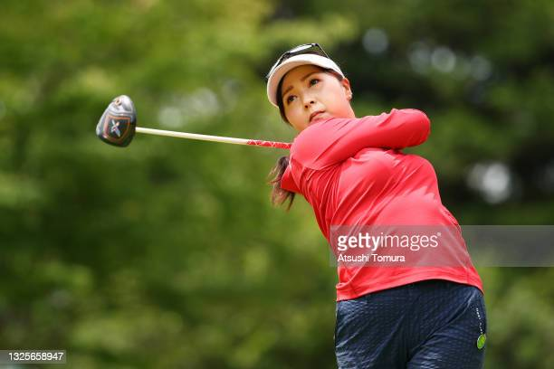Serena Aoki of Japan hits her tee shot on the 6th hole during the final round of the Earth Mondamin Cup at Camellia Hills Country Club on June 27,...
