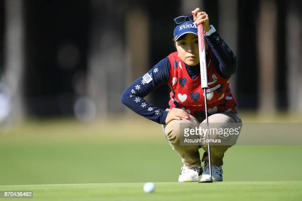 Serena Aoki of Japan lines up a putt on the 9th hole during the final round of the TOTO Japan Classics 2017 at the Taiheiyo Club Minori Course on...