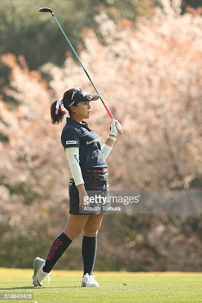 Serena Aoki of Japan looks on during the T-Point Ladies Golf Tournament at the Wakagi Golf Club on March 20, 2016 in Takeo, Japan.
