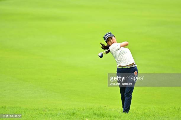 Serena Aoki of Japan plays a shot on the 1st hole during the practice round ahead of the Earth Mondamin Cup at the Camellia Hills Country Club on...