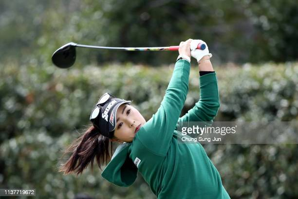 Serena Aoki of Japan plays a tee shot on the 2nd hole during the second round of the TPoint x ENEOS Golf Tournament at Ibaraki Kokusai Golf Club on...