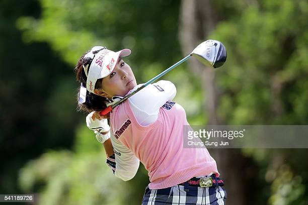 Serena Aoki of Japan plays a tee shot on third hole during the final round of the Nichirei Ladies at the Sodegaura Country Club Shinsode Course on...