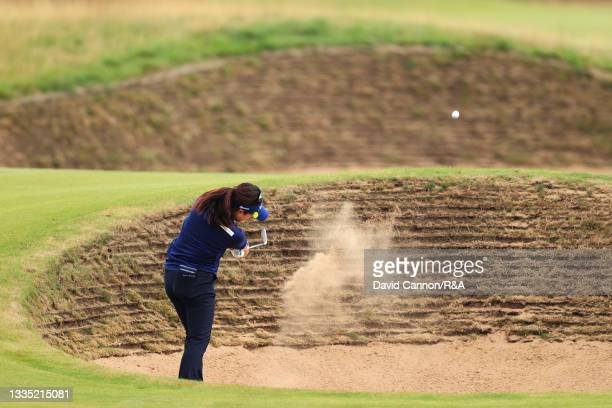 Serena Aoki of Japan plays her second shot on the fourteenth hole from a bunker during Day Two of the AIG Women's Open at Carnoustie Golf Links on...