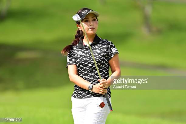 Serena Aoki of Japan reacts after a putt on the 5th green during the first round of the Japan Women's Open Golf Championship at the Classic Golf Club...