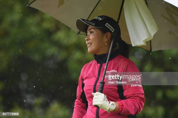 Serena Aoki of Japan smiles after her tee shot on the 6th hole during the second round of the Munsingwear Ladies Tokai Classic 2017 at the Shin...