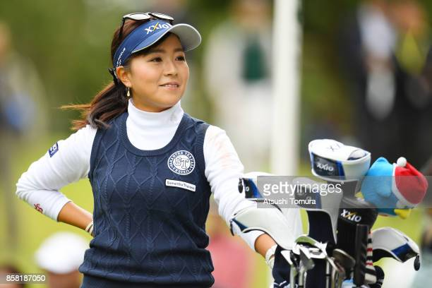 Serena Aoki of Japan smiles during the first round of Stanley Ladies Golf Tournament at the Tomei Country Club on October 6, 2017 in Susono,...