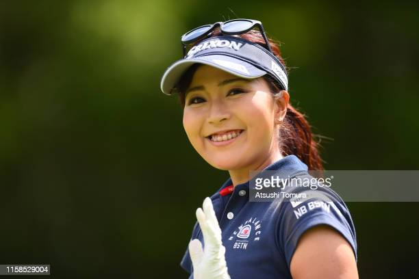 Serena Aoki of Japan smiles during the first round of the Earth Mondamin Cup at the Camellia Hills Country Club on June 27, 2019 in Sodegaura, Chiba,...