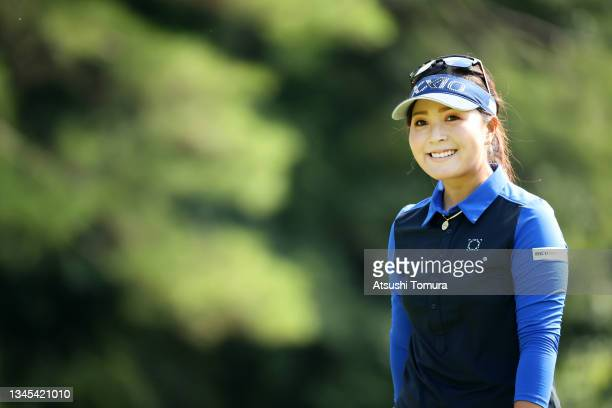 Serena Aoki of Japan smiles on the 3rd hole during the first round of the Stanley Ladies at Tomei Country Club on October 8, 2021 in Susono,...