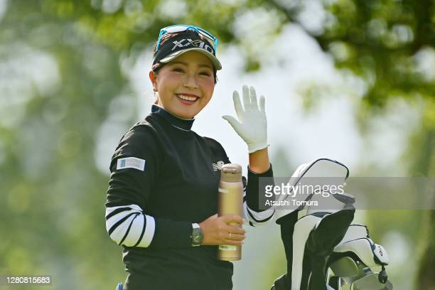 Serena Aoki of Japan waves during the final round of the Fujitsu Ladies 2020 at the Tokyu Seven Hundred Club on October 18, 2020 in Chiba, Japan.