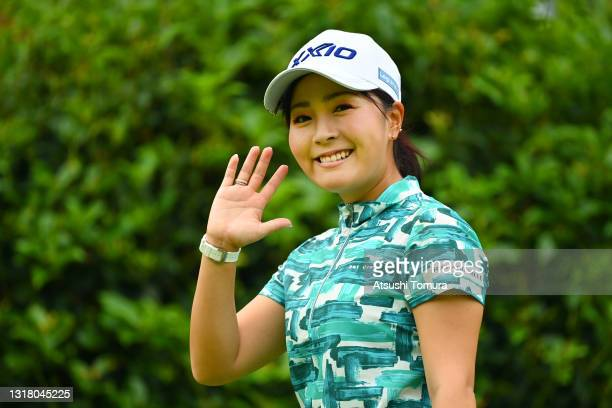 Serena Aoki of Japan waves on the 2nd hole during the second round of the Hoken no Madoguchi Ladies at the Fukuoka Country Club Wajiro Course on May...