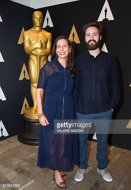 """Serena Armitage and Benjamin Cleary nominated for Short Film """"Stutterer"""" attend the Oscar Week: Shorts evening, in Beverly Hills, California, on..."""