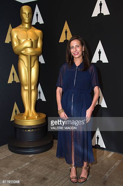 """Serena Armitage nominated for Short Film """"Stutterer"""" attends the Oscar Week: Shorts evening in Beverly Hills, California, on February 23, 2016. / AFP..."""