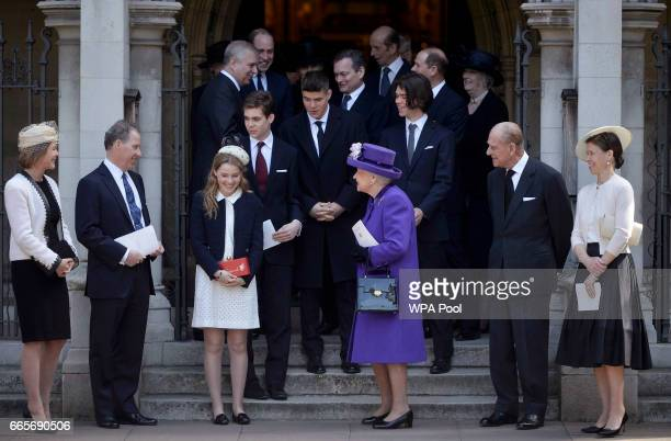 Serena ArmstrongJones David ArmstrongJones Margarita ArmstrongJones Queen Elizabeth II Prince Philip Duke of Edinburgh and Sarah Chatto leave a...