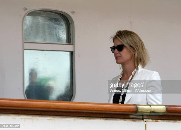 Serena ArmstrongJones wife of Viscount Linley boards the Hebridean Princess in Stornoway as Britain's Queen Elizabeth II and members of the Royal...