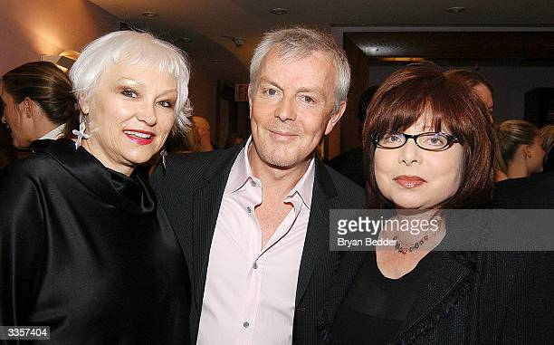 "Serena Bass, salon owner Jon Barrett and Patrisia Wexler attend the Plum Sykes ""Bergdorf Blondes"" book launch party April 13, 2004 in New York, New..."