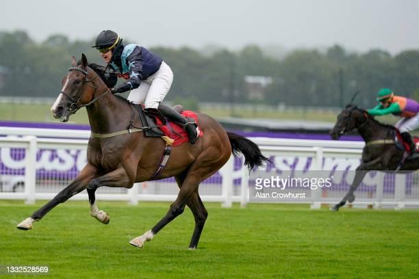 Serena Brotherton riding Bad Company win The Casumo Bet 10 Get 10 Amateur Jockeys' Handicap at Sandown Park on August 05, 2021 in Esher, England.