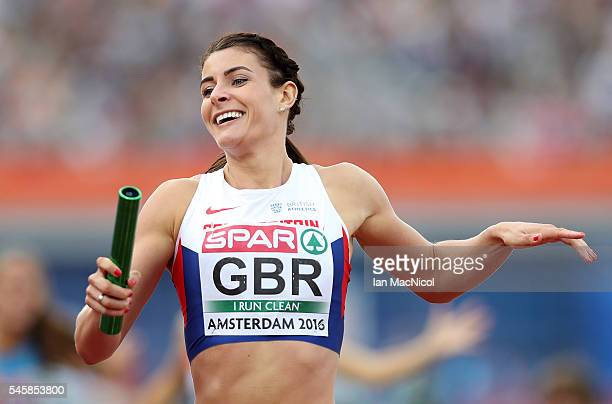 Serena Bundy Davies of Great Britain in action during the final of the womens 4x400m relay on day five of The 23rd European Athletics Championships...