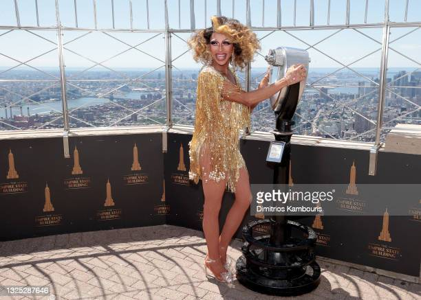 """Serena ChaCha attends as Empire State Building hosts the cast of """"RuPaul's Drag Race All Stars"""" Season 6 on June 24, 2021 in New York City."""