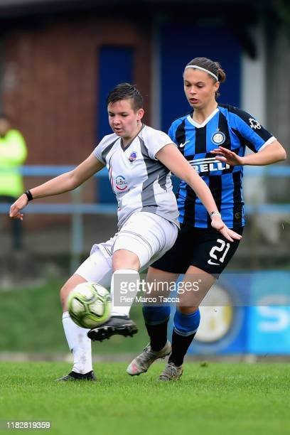 Serena Cortesi of Orobica Women competes for the ball with Caterina Fracaros of FC Internazionale Women during the Women Serie A match between FC...