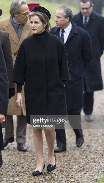 Serena Countess of Snowdon and David Earl of Snowdon attend Sunday Church Service at St Mary the Virgin on January 15 2017 in Flitcham England