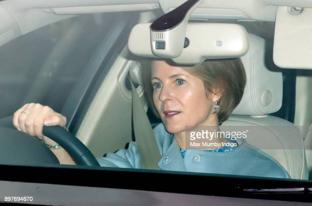 Serena Countess of Snowdon attends a Christmas lunch for members of the Royal Family hosted by Queen Elizabeth II at Buckingham Palace on December 20...
