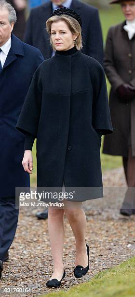 Serena Countess of Snowdon attends the Sunday service at the church of St Mary the Virgin in Flitcham on January 15 2017 near King's Lynn England