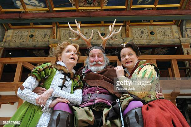"""Serena Evans , Sarah Woodward and Christopher Benjamin perform in William Shakespeare's play """"The Merry Wives Of Windsor"""" at Shakespeare's Globe..."""