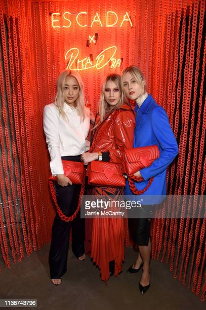 Serena Goh Sophia Macks and Linda Tol attend the launch of the ESCADA Heartbag by Rita Ora on March 27 2019 in New York City
