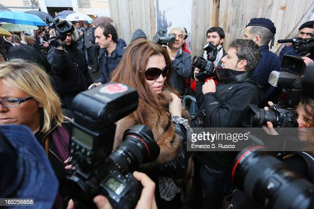 Serena Grandi attends the funeral for Franco Califano at Chiesa degli Artisti on April 2 2013 in Rome Italy